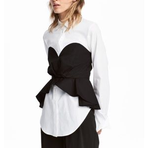 White Shirt with Black Bustier NWT